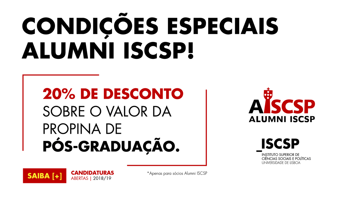 Associados Alumni ISCSP beneficam de vantagens nos cursos de pós-graduação