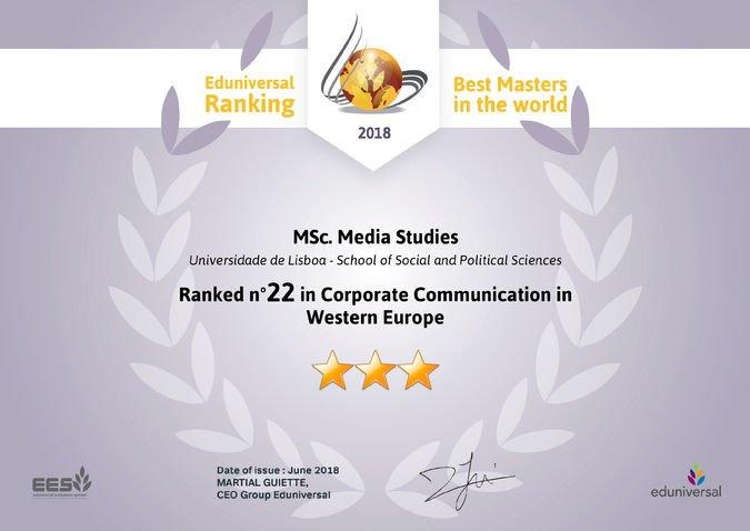 Mestrado em Comunicação Social do ISCSP-ULisboa entre os melhores da Europa Ocidental em 2018