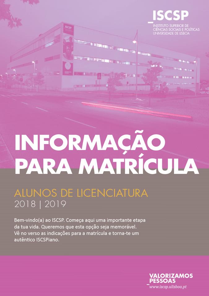 Informação para os novos alunos de Licenciatura do ISCSP-ULisboa - 2018/2019