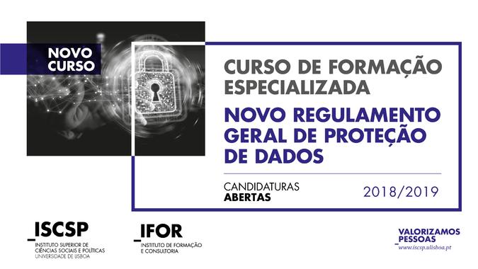 """Curso de Formação Especializada """"Novo Regulamento Geral de Proteção de Dados"""" - Candidaturas abertas"""