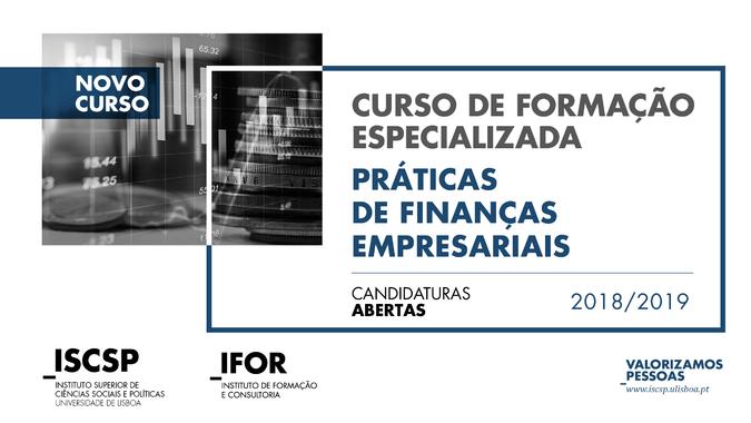 """Curso de Formação Especializada """"Práticas de Finanças Empresariais"""""""