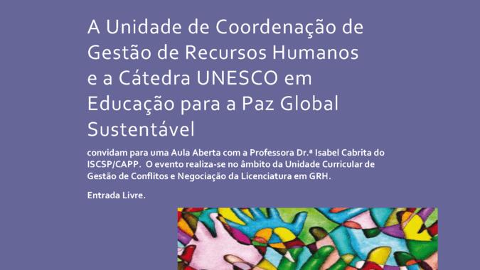 """Aula Aberta """"Empresas e Direitos Humanos em Portugal"""", com Isabel Cabrita, no ISCSP-ULisboa."""