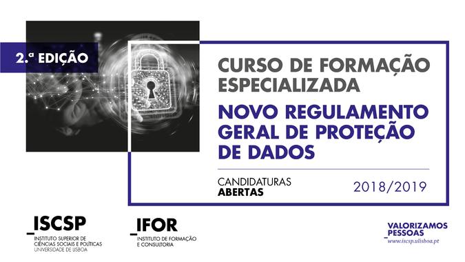 """2.ª edição do Curso de Formação Especializada """"Novo Regulamento Geral de Proteção de Dados"""" - Candidaturas abertas"""