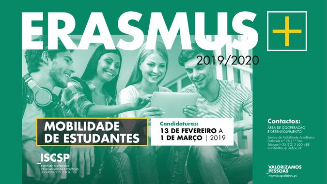 Candidaturas abertas para o Programa Erasmus+ 2019/2020