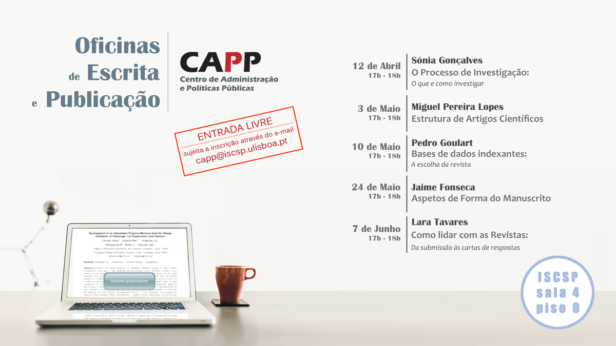 "CAPP/ISCSP-ULisboa organiza workshops ""Oficinas de escrita e publicação"""
