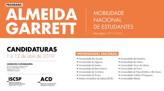 Candidaturas abertas para o programa de mobilidade Almeida Garrett 2019/2020