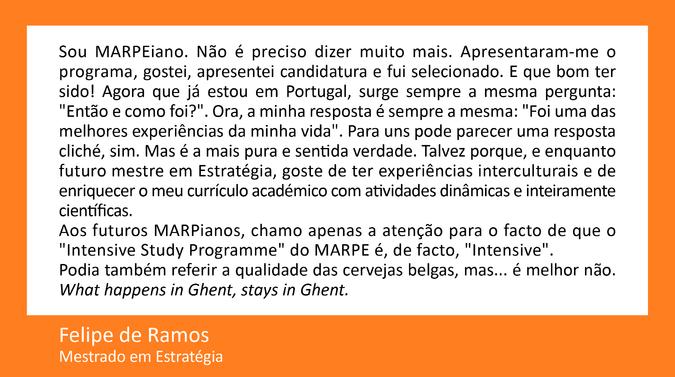 Testemunho de Felipe de Ramos, Mestrado em Estratégia