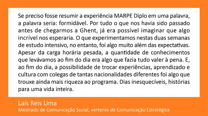 Testemunho de Laís Reis Lima, Mestrado de Comunicação Social,  vertente de Comunicação Estratégica