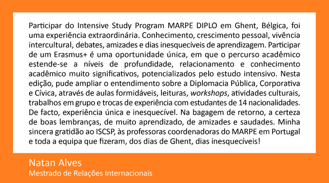 Testemunho de Natan Alves, Mestrado de Relações Internacionais