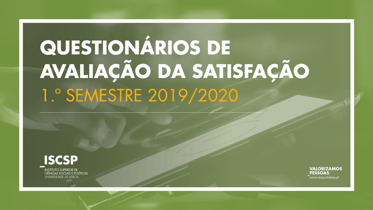 Questionários de Avaliação da Oferta Educativa do I Ciclo | 1.º Semestre 2019/2020