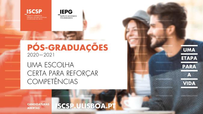 Candidaturas abertas para as pós-graduações do ISCSP-ULisboa - Ano Letivo de 2020-2021