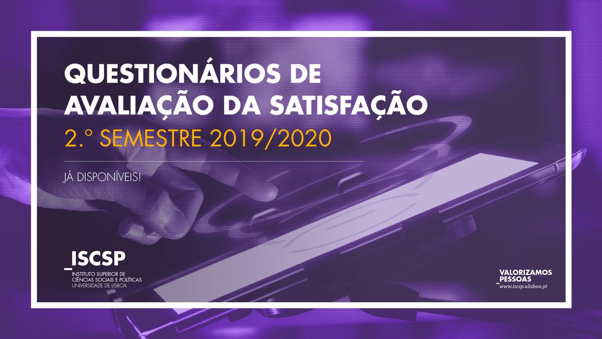 Questionários de Avaliação da Oferta Educativa do I Ciclo do ISCSP - 2.º Semestre 2019/2020
