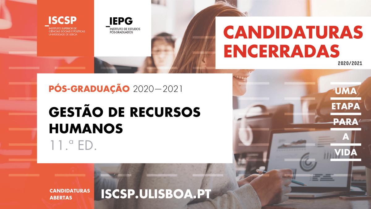 Candidaturas encerradas à pós-graduação em Gestão de Recursos Humanos do ISCSP