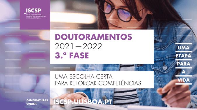 3.ª fase das candidaturas aos doutoramento do ISCSP-ULisboa para o ano letivo 2021-2022